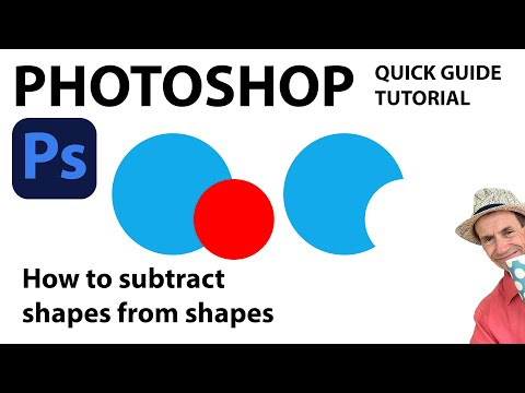 Photoshop  -- Subtract shape from another shape tutorial CC 2018 2017 2015 etc