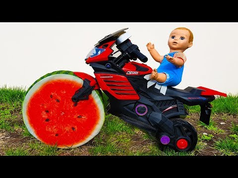 Doll & Watermelon Wheel SportBike Ride on POWER WHEEL cars