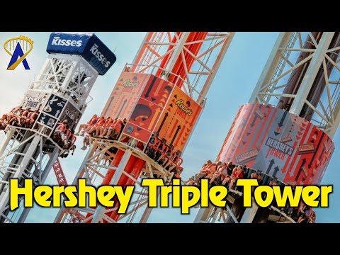 Hershey Triple Tower drop rides at Hersheypark