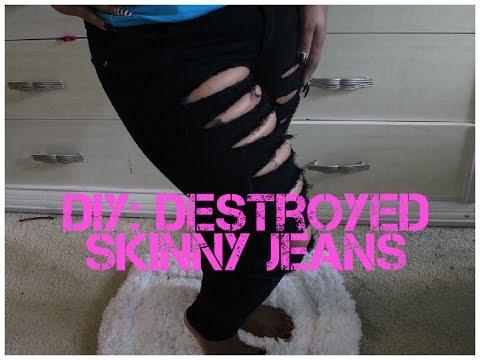 DIY | How To Distressed/Destoryed Black Denim Jeans