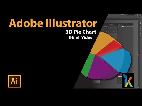 3D Pie Chart in Adobe illustrator in Hindi