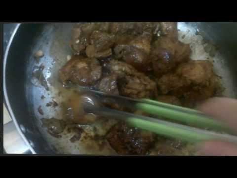 Chicken and Pork Adobo with liver spread