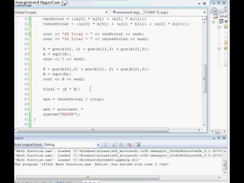 C++ Tutorial:: Angle Between Two Vectors