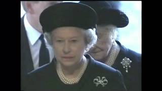 Queen & Queen Mother Arrive At Funeral Of Diana Princess Of Wales 1997