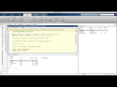 MATLAB Video 5: num2str function, example using the char function