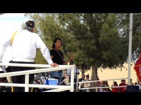 Actor Adam Beach singing an honor song @ an Iwo Jima Memorial in Sacaton AZ