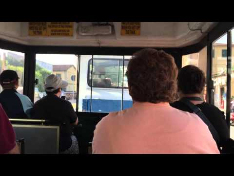 Mini train ride from bus stop to famous leaning tower of Pisa