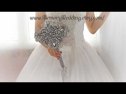 Brooch bouquet fan, for bride or bridesmaids. Luxury bling wedding bouquet