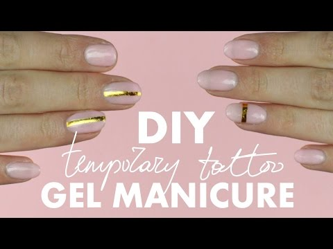 DIY Temporary Tattoo Gel Manicure - pink & gold - how to remove gel nails