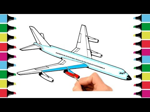 How To Draw An Airplane | Airplane Coloring Pages For Kids | Aeroplane Drawing And Coloring For Kids