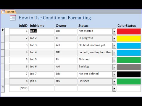 How to Change Status Color using Conditional Formatting