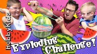 Watermelon vs Rubber Band Challenge with HobbyKidsTV