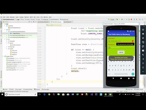 Android Login Screen - (EditText) Text Fields Example Part 2/3 (JAVA)