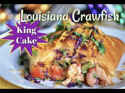 Mardi Gras Crawfish King Cake Recipe - Amazing Savory Easy King Cake with Louisiana Crawfish