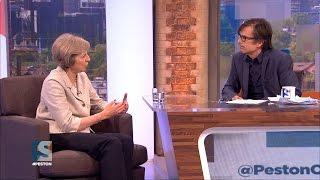 Theresa May speaks to Robert Peston