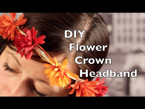 DIY Flower Crown Headband | Ribbon with Fake Flowers