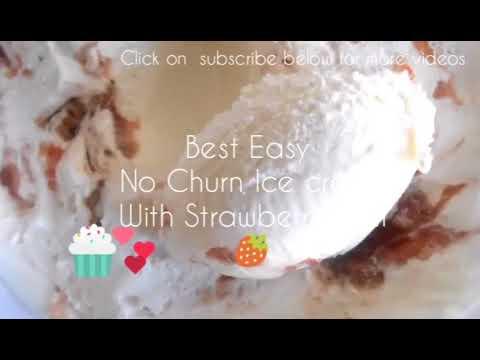 Easy and Creamy Ice cream with strawberry jam swirls (no machine)