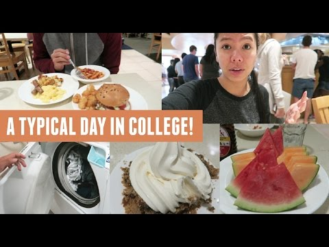 A Typical Day In College! (Dorm Food, Laundry, Friends & Work)