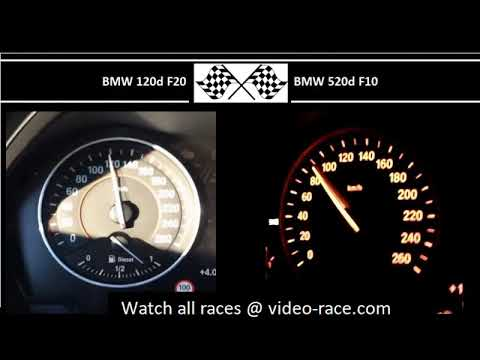 BMW 120d F20 VS. BMW 520d F10 - Acceleration 0-100km/h