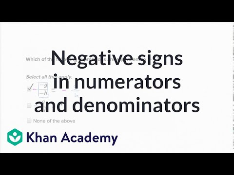 Negative signs in numerators and denominators | 7th grade | Khan Academy