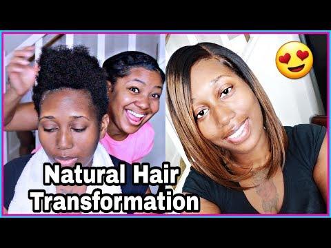 Short Natural HAIR TRANSFORMATION to Brown Ombre Bob | PremierLaceWigs
