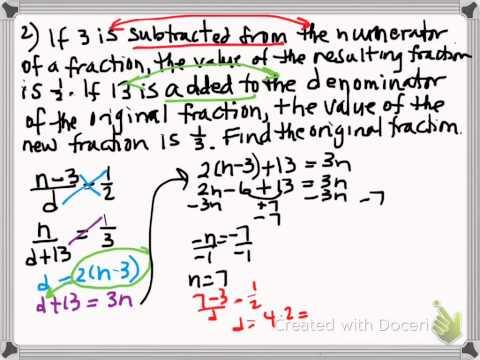 Algebra Fraction Word Problems