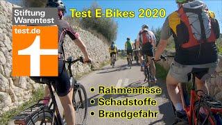 Test E-Bikes 2020: Brandgefahr, Rahmenrisse, Schadstoffe (Test Pedelecs Stiftung Warentest)