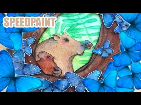 Morphos and Capybaras - Animal Artists Collective - watercolor illustration
