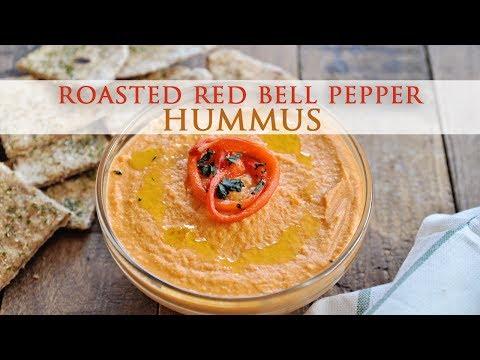 Homemade Roasted Red Bell Pepper Hummus