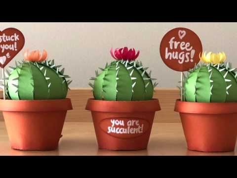 3D Paper Cactus and Pot Party Favor Gift Box TRAILER