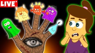 Download The Five Spooky Monster Finger Family   Halloween Songs for Kids by Annie and Ben   LIVE 🔴 Video