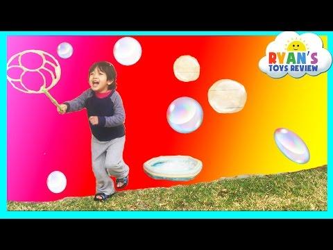 Family Fun with Bubble Fun Pond Bubbles Lawn Mower and Gazillion Bubble Hurricane Machine Kids Video