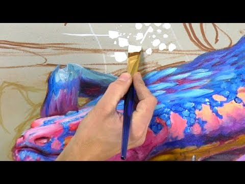 Learning Paint Brush Techniques - Fantasy Mural PART 2