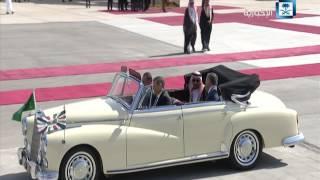#x202b;مراسم استقبال خادم الحرمين الشريفين أثناء وصوله الأردن#x202c;lrm;