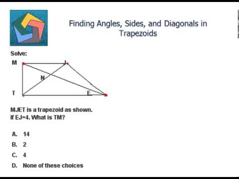 Finding Angles, Sides, and Diagonals in Trapezoids