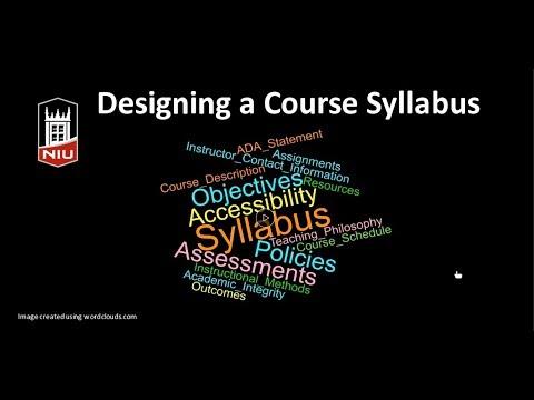 Designing a Course Syllabus