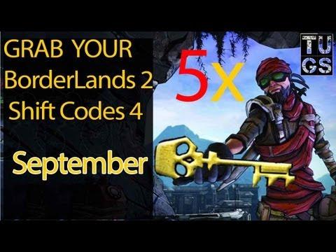 2nd Set 5 Golden keys of 15 Golden Keys BorderLands 2 SHIFT code Sept 14 PC, MAC, PS3 & Xbox 360