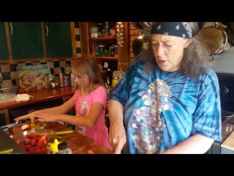 Susun and granddaughter in the Kitchen 2 - fresh Rhubarb and Strawberry