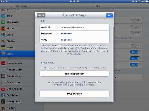iPad: Changing Apple ID Settings