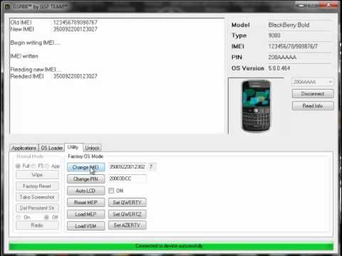 Change Blackberry PIN and IMEI with GSPBB