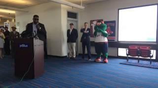 David Ortiz speaks at JetBlue Gate 34 ceremony at Logan Airport