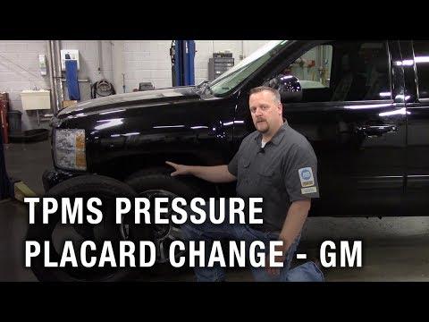 TPMS Pressure Placard Change - GM