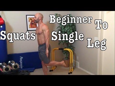 Body weight squat progression, Beginner to single leg variations. Chair, split, Bulgarian, shrimp