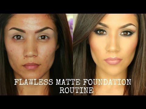 FLAWLESS FULL COVERAGE MATTE FOUNDATION TUTORIAL I OILY/COMBO SKIN (UPDATED)