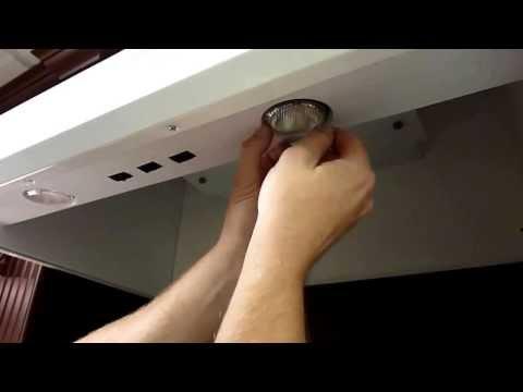 Removal of Par20 halogen bulbs on a Vent A Hood ventahoodpart.com p1123