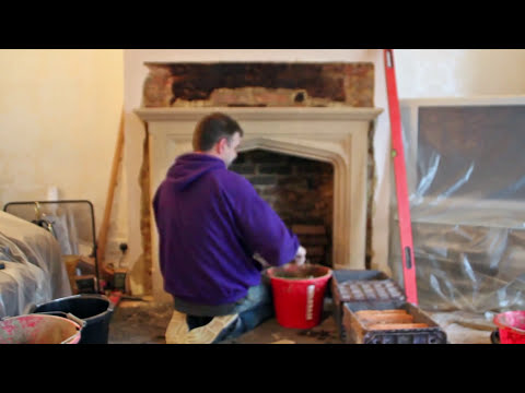 How to install a Limestone fireplace mantel & Contura 51L wood burning stove