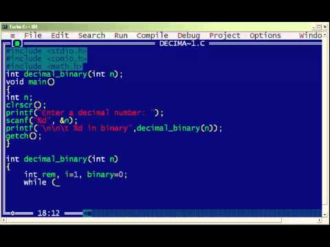 C program to convert decimal to binary