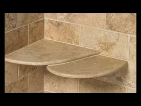 Shower Shelf Insert Ideas for Built in Tile with Stainless Steel Glass