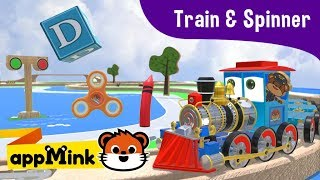 Download appMink Toy Train carries Fidget Spinner, Toy Boxes & Crayon on Wooden Train Track Video