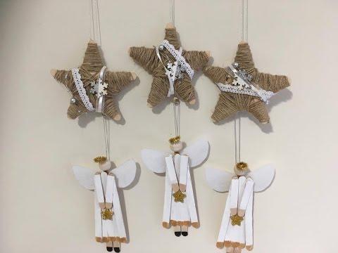 2 DIY popsicle christmas ornaments, Angels & Jute twine stars